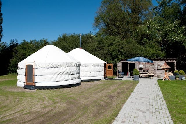 Customisation combining two yurts into a spacious living space