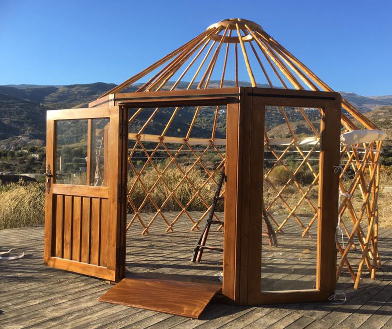 Yurt being prepared for small school room